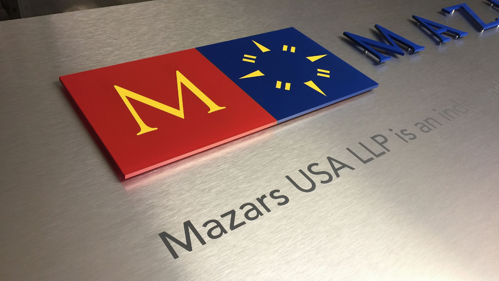 mazars sign closeup